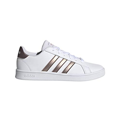 adidas Unisex-Kid's Grand Court Sneaker, White/Copper Metallic, 11 Little Kid