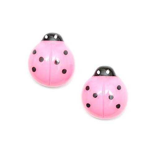 Idin Pendientes de clip - Mariquita rosa (aprox. 15 x 15 mm)