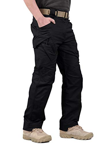 LABEYZON Men's Outdoor Work Military Tactical Pants Rip-Stop Cargo Pants Men (Black 3XL)