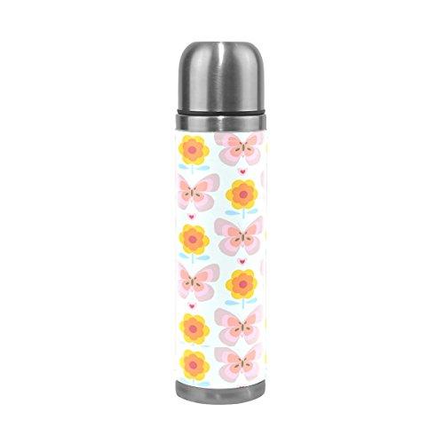 Ffy Go Travel Mug, papillon Motif floral personnalisé Thermos en acier inoxydable LeakProof Thermos isotherme extérieur Cuir pour filles garçons 500 ml