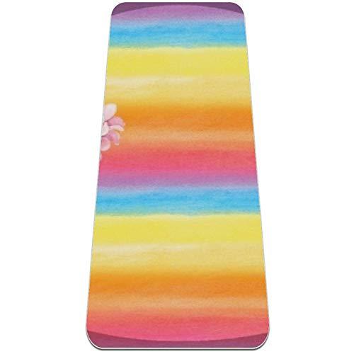 nakw88 Hermosas alfombrillas de yoga antideslizantes para yoga, pilates y ejercicios de suelo (72 x 24 x 6 mm) para mujeres y niñas