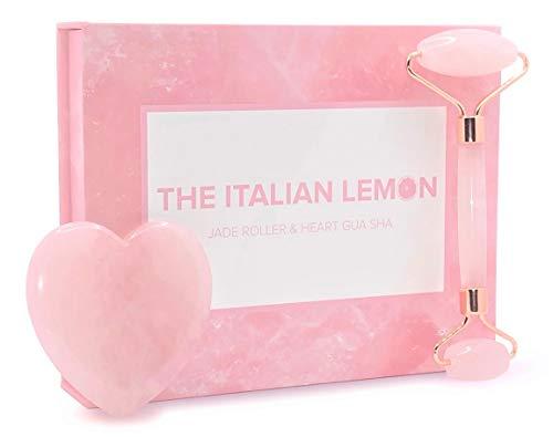 THE ITALIAN LEMON - Jade Roller e Gua Sha grande a cuore - Massaggiatore viso, contorno occhi e cervicale - Set roller viso e cuore gua sha originale - 100{b6c382f665aecbe42ba9e090757a3be1588ce1cdadef39ebf225553e5cd96a21} quarzo rosa - skincare - scatola regalo