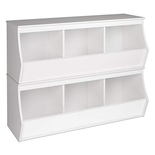 Prepac Monterey Stacked 6-Bin Storage Cubby, White
