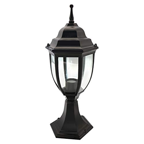 OSTWIN 1-Light Outdoor Garden Post Lantern L04 Lighting Fixture, Traditional Post Lamp Patio with One E26 Base, Water-Proof, Black Cast Aluminum Housing, Clear Glass Panels, ETL Listed