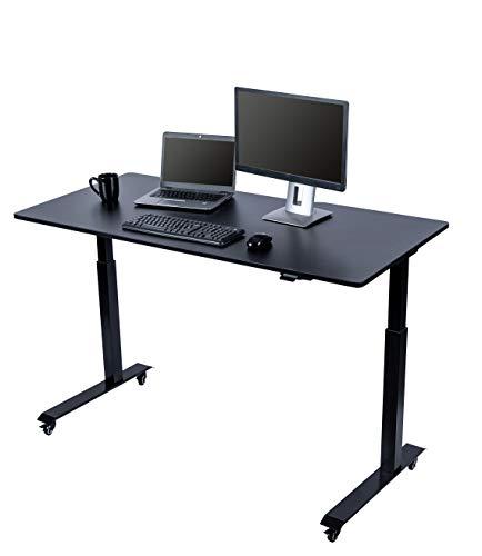 Stand Up Desk Store - Scrivania elettrica regolabile in altezza con ruote di bloccaggio e piedini per mobili (telaio nero/piano nero, larghezza 152,4 cm)