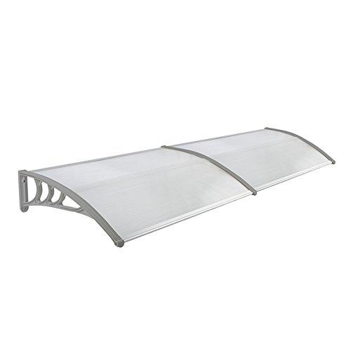 LZQ 200 x 100cm Vordach Türdach Pultbogenvordach Überdachung Polycarbonat Transparentes weiß Haustür Überdachung Haustürvordach Pultvordach - diverse Größen- diverse Farbe (200 x 100cm, Grau)