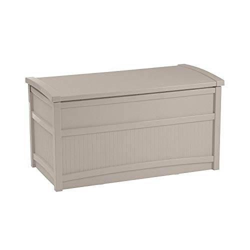 Suncast 50 Gallon Deck Storage Box - Small Water Resistant Outdoor Storage Container for Gardening Tools, Athletic Equipment and More - Store Items on Deck, Patio, Backyard - Taupe
