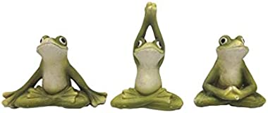 Pacific Giftware Zen Garden Inner Peace Yoga Frogs Set of 3 Figurine Collectible Sculpture Mini Garden Decor 2.5 inch Tall