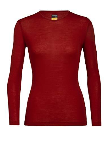 Icebreaker Women's 175 Everyday LS Crewe Merino Base Layer Functional Shirt, Womens, Functional Shirt, 104471, Oxblood, M