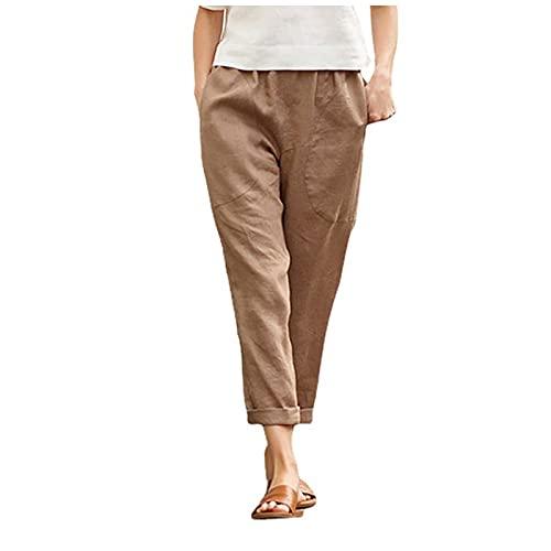 NIDOV Wide Leg Crop Pants for Women Linen Elastic Waist Cotton Capri Trouser with Pockets Khaki 4X-Large