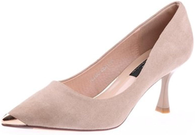 HOESCZS HOESCZS Elegante Damenschuhe 2019 Frühjahr Neue Spitze Stiletto Heels Metallkopf flachen Mund einzelne Schuhe Frauen  hier hat das neuste