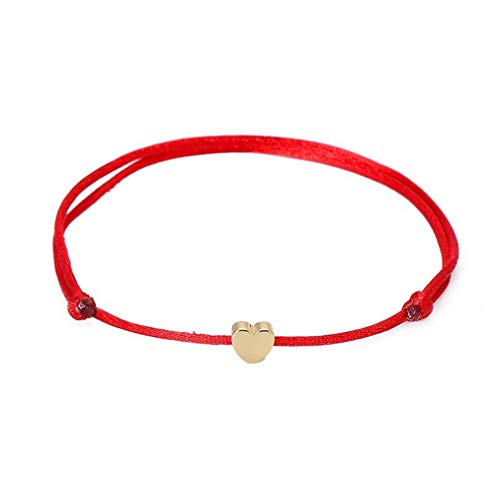 Sevenfly Red String Bracelets Alloy Heart Charm Handmade Adjustable String Bracelet(Red)