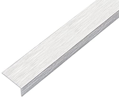 GAH-Alberts 489144 Winkelprofil | selbstklebend | Aluminium, edelstahldesign, hell | 1000 x 30 x 15 mm
