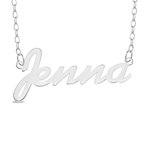 JENNA Name Necklace 925 Sterling Silver Trace Chain Pendant Gift + Pouch (12)