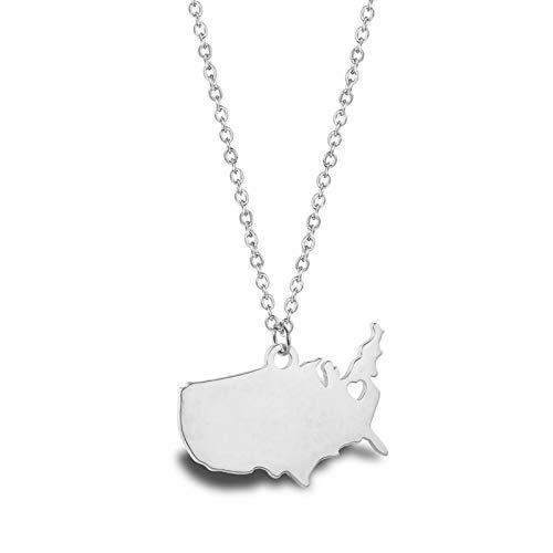 AnazoZ Collar Acero Inoxidable Mujer Collares Mujer Mapa de Estados Unidos Collar Colgante Mujer Plata