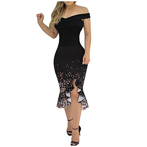 Vestidos Fiesta 2021 Vestidos De Verano Mujer, Trajes De Boda Mujer, 50s Vestidos para IR De Comunion, Vestidos Largos Y Casuales, Casual Vestidos para Comunion Mujer, Monos Mujer Verano(I Negro,M)