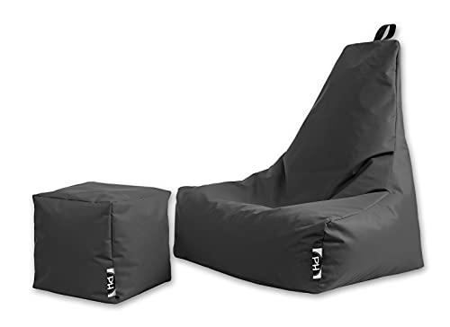 Patchhome Premium Lounge Sessel inkl. Würfel | Gaming Sitzsack | Sitzkissen für In & Outdoor | Fertig befüllt | XL | Anthrazit | 2 Größen & 25 Farben
