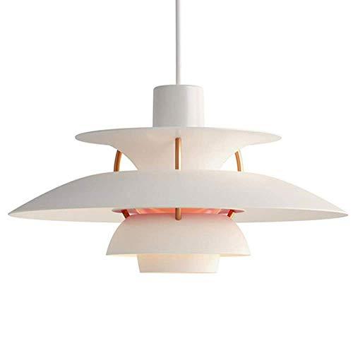 Lámpara colgante de hierro forjado nórdico Ph5, E27, lámpara de araña de aluminio para restaurante degradado iluminación decoración del hogar, color blanco - 40 cm