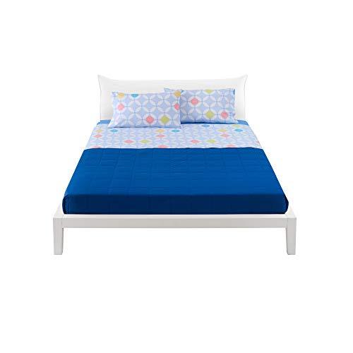 Bassetti Lenzuola Matrimoniale (Completo Letto 100% Cotone, lenzulo sotto + sopra + 2 federe Adam) (Azzurro)