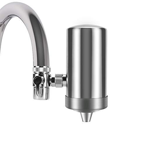 YJHome Wasserfilter Wasserhahn, Edelstahl 304 Trinkwasserfilter | Gesunder Prämie Wasser Filtersystem Küchenzubehör | Wasserhahnfilter für mit Filterkartuschen