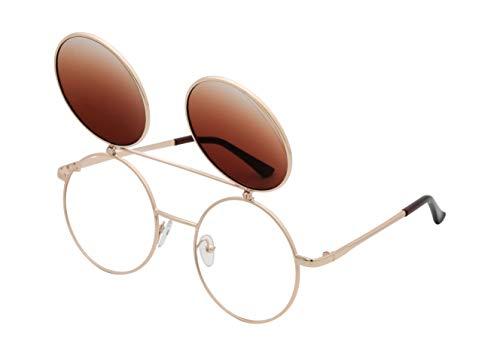 J&L Glasses Retro Flip-Up Round Goggles Seampunk Sunglasses (Goden,Amber, Clear), JL60