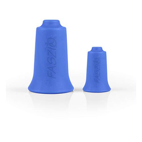 BellaBambi FASZIO Cupping-Set, Schröpfglocken & Faszienbehandlung Hergestellt in Deutschland - aus medizinischem Silikon, 2 Stück (mini + original) - ACTIVE - Blau (mittlere Intensität)