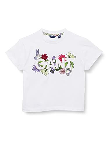 GANT D1. Flower Logo SS T-Shirt Camiseta, Blanco, 134 cm-140 cm para...