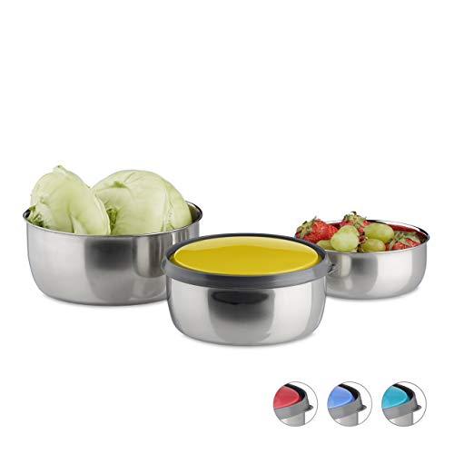 Relaxdays Schüssel Set mit Deckel, 3-teilig, unterschiedlich groß, Edelstahl, Küche, Picknick, Aufbewahrung, gelb