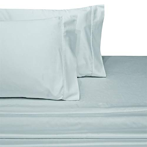 Royal Hotel Collection Luxury Ultra Soft Combed Cotton 600 Thread Count Sateen Woven Sheet Set, Deep Pockets (18' Pockets), 3 Piece Twin Extra Long (Twin XL) Size Sheet Set, Solid Color, Sea