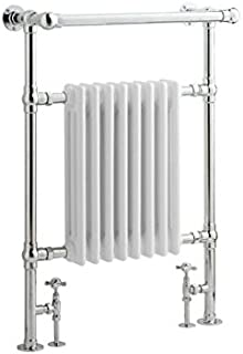 Hudson Reed - Traditional Heated Bathroom Towel Radiator With Fixing Pack and Valves In Chrome & White - 37