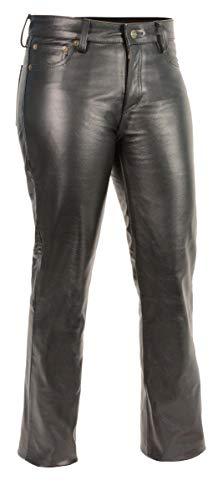 M Boss Motorcycle Apparel Pants BOS26501 Ladies Classic 5 Pocket Leather Pants Black - 10