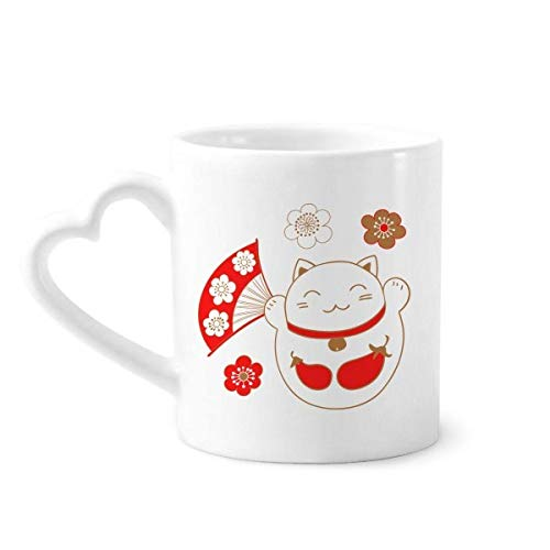 DIYthinker Japan Lucky Fortune kat bloem koper koffie mokken aardewerk keramische beker met hart handvat 12oz gift