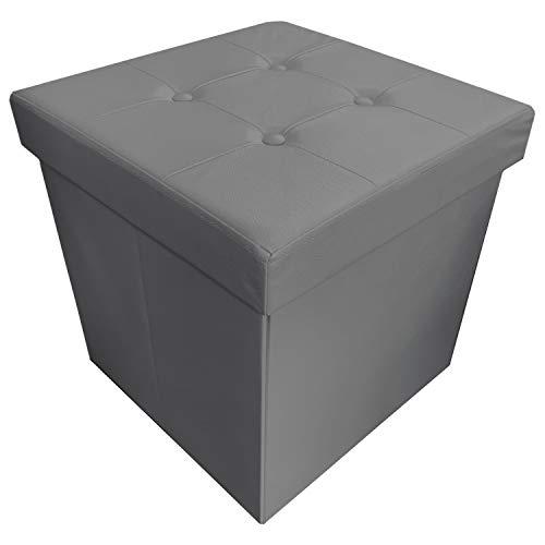 NuvolaNera Pouf poggiapiedi Sgabello Decorativo Contenitore in Ecopelle 45x45x45 cm – Grande capienza – Tenuta Fino a 150 kg. – Grigio