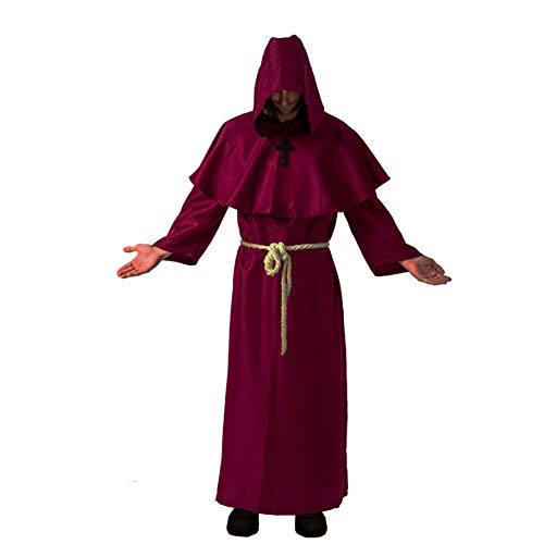 Spooktacular Creations Adult Medieval Hooded Monk Cloak Renaissance Priest Robe Halloween Costume (Small) Wine Red