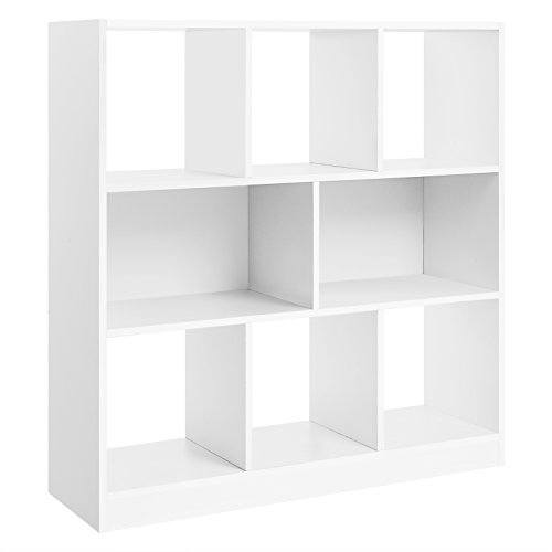 VASAGLE Wooden Bookcase with Open Shelves Freestanding Bookshelf Storage Unit and Display Cabinet for Living Room Study Room 354 x 11 x 394 Inches White ULBC55WT