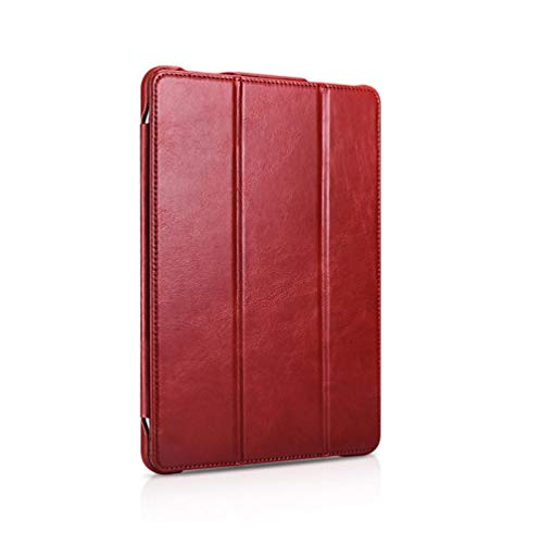Cowhide flat protective case for iPad Pro 12.9 Flip Holder Holster-Red iPad 10.2
