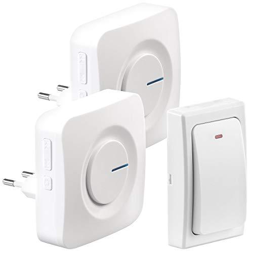 CASAcontrol Batterielose Funkklingel: Batterielose Funk-Türklingel, 2 Steckdosen-Empfänger, 36 Töne, IP44 (Klingel ohne Batterie)