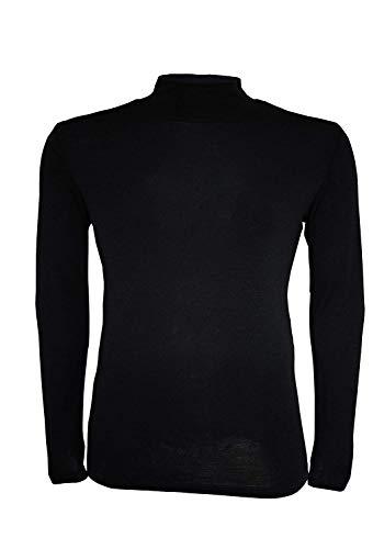 Camiseta térmica para Hombre (100% Lana de Merino, Manga Larga, Cuello Alto) (XL, Negro)