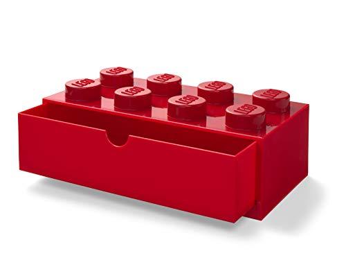 LEGO - Cajón apilable de escritorio con 8 perillas, color rojo