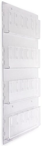"""Displays2go Hanging Literature Rack with Adjustable Pockets, 29x48"""", Clear Acrylic (RP12CLR)"""