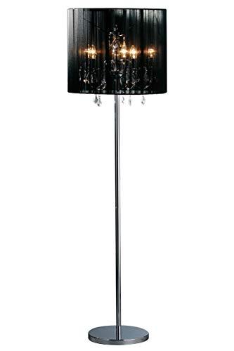 Premier Housewares staande lamp met kandelaar en lampenkap van stof, zwart