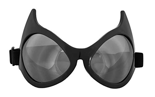 Black Cat Eye Costume Goggle Glasses with Silver Lenses for Men and Women