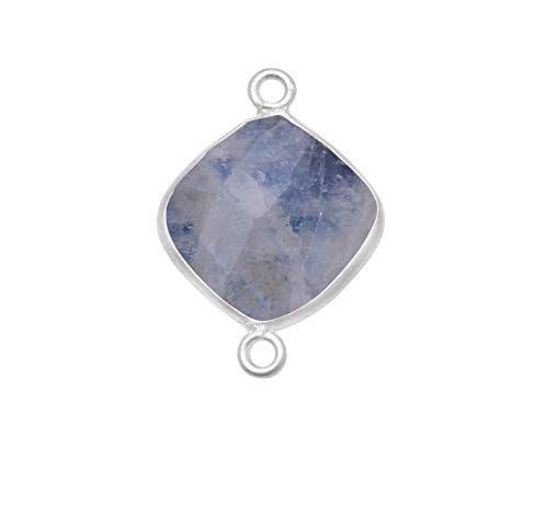 6 Pcs Rainbow Moonstone Natural Cushion, Square 12MM 925 Sterling Silver Handmade Bezel Charms Links Connector Pendant Bail DIY Jewelry Making Bracelet Necklace Crystal Craft Birthstone Accessories