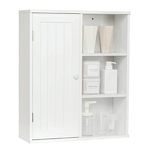 Meerveil Armario Baño Pared, Armario Baño Colgante con 1 Puerta 3 Ajustable Estante Madera para Baño Salón 50.5x18x61cm Blanco