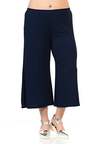 Pastel by Vivienne Women's Wide Leg Crop Culottes Plus Size XXX-Large Navy