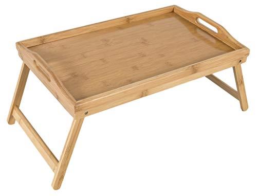 Bambú bandeja de desayuno con patas plegables y asas, bandeja, Lap Table–50x 30x 25