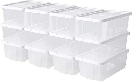 Femor Set de 12 Cajas Multiusos, Caja de Almacenamiento con Tapa, Apilable, Plástico Transparente, 35 x 20 x 12,5 cm