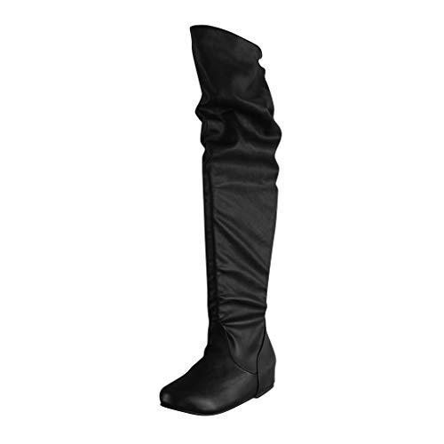 Cardith Damen Overknee Stiefel Lackleder Zeigte Zeh Spitze Flacher Boden Boots Gotische Lolita