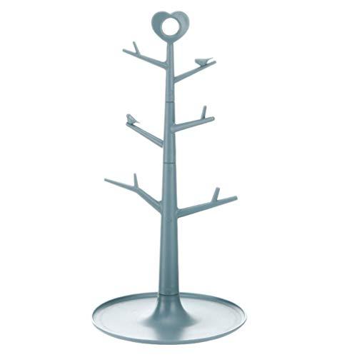 YARNOW Kaffee Becher Baum Kunststoff Baum Schmuck Ständer Halter Display Ohrring Halskette Ring Organizer Turm für Home Dekoration (Blau)