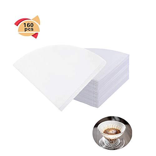CUNYA - 160 filtros de café desechables # 4, papel natural